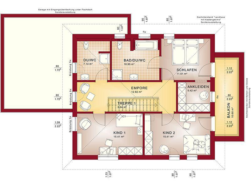 Grundriss Obergeschoss Fantastic 162 V6 (Bien-Zenker)