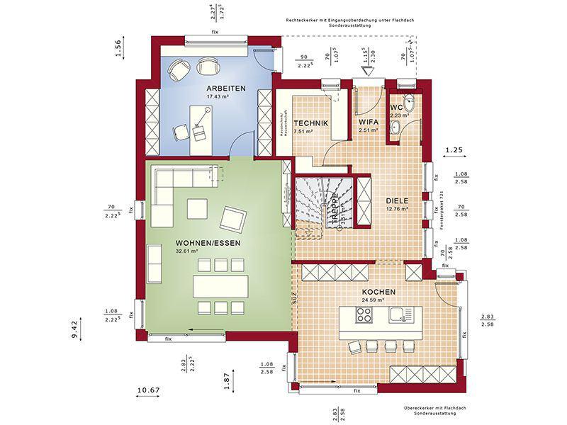 Grundriss Erdgeschoss Fantastic 163 V2 (Bien-Zenker)