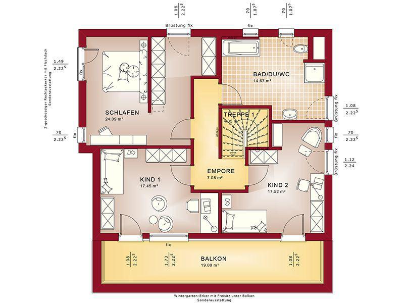 Grundriss Obergeschoss Fantastic 163 V7 (Bien-Zenker)