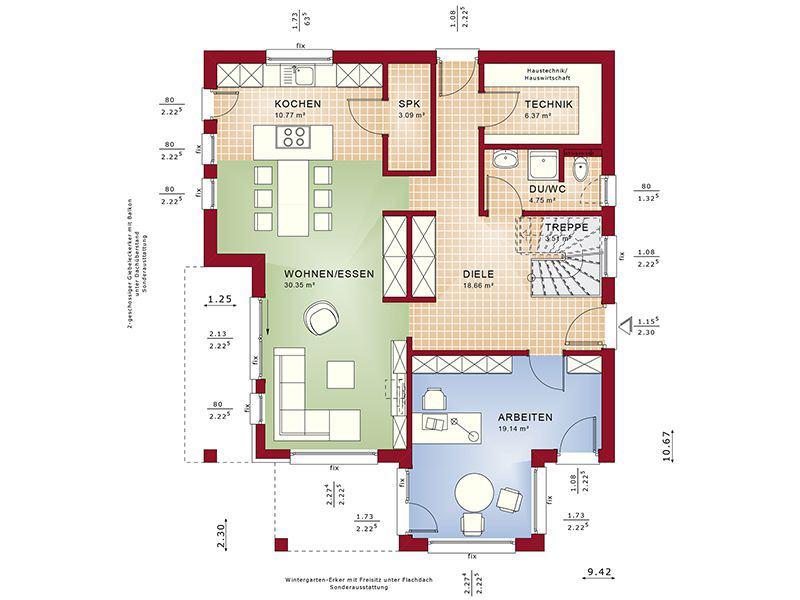 Grundriss Erdgeschoss Fantastic 165 V3 (Bien-Zenker)