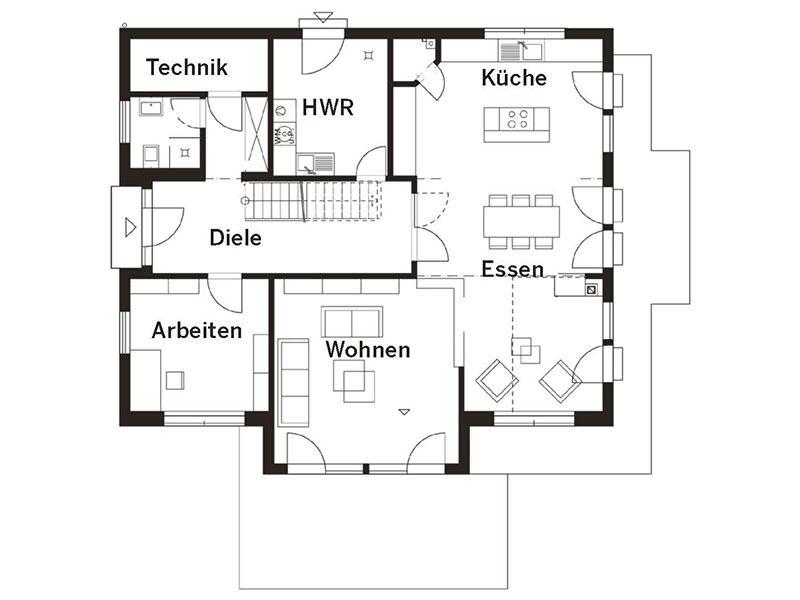 Grundriss Erdgeschoss Landhaus (HAACKE Haus)