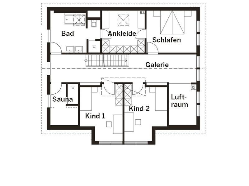 Grundriss Obergeschoss Landhaus (HAACKE Haus)