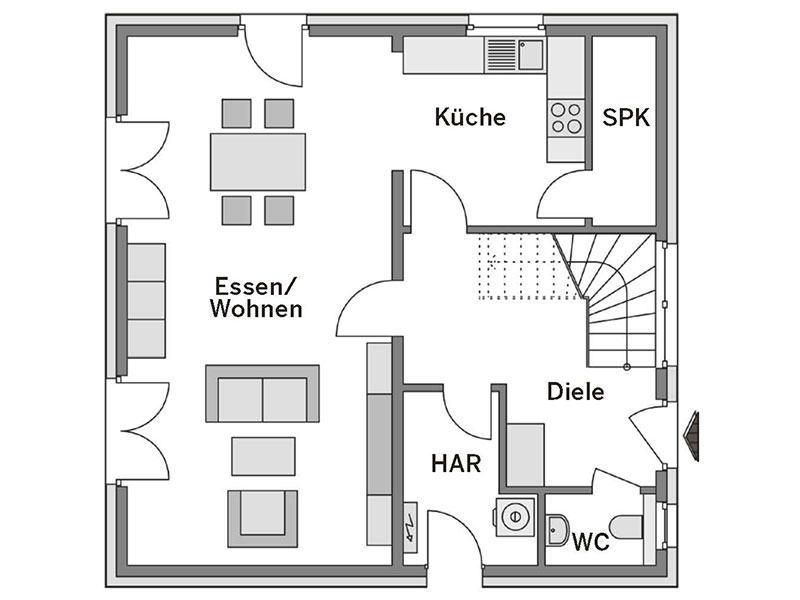 Grundriss Erdgeschoss Villa 130 (Heinz von Heiden)