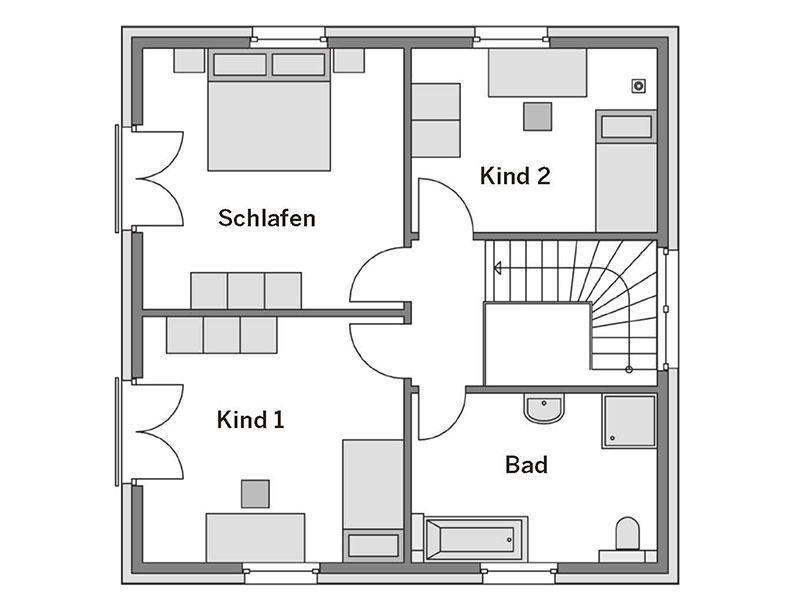 Grundriss Obergeschoss Villa 130 (Heinz von Heiden)