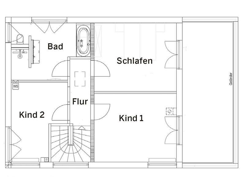 Grundriss Obergeschoss Landhaus139 (Luxhaus)