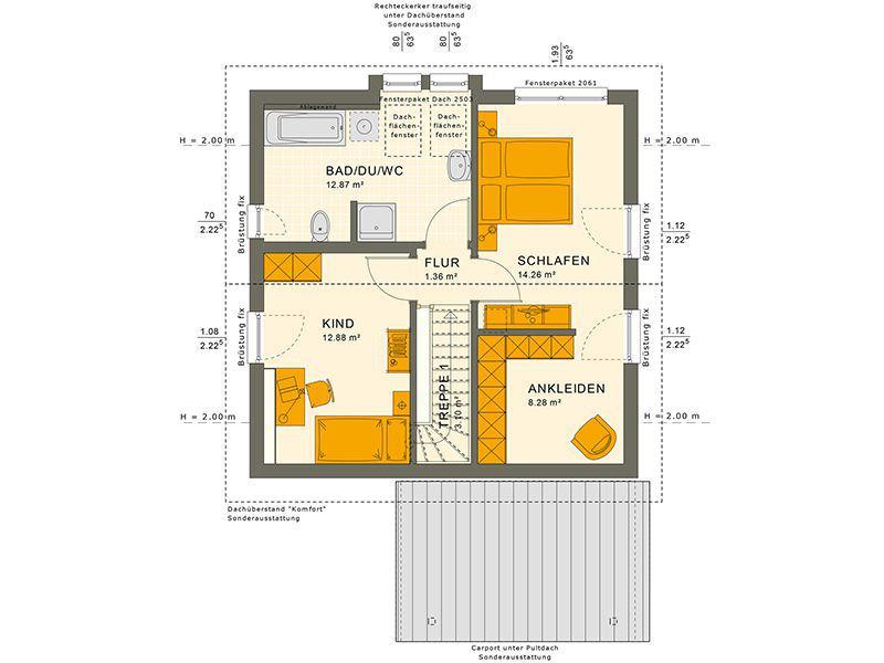Grundriss Dachgeschoss 106 V6 (Living Haus)