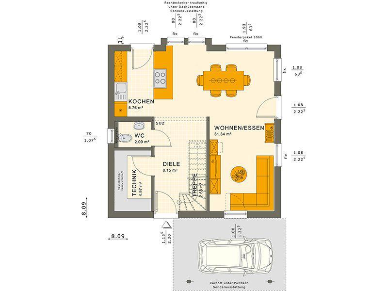 Grundriss Erdgeschoss 106 V6 (Living Haus)