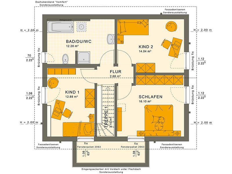 Grundriss Dachgeschoss 124 V7 (Living Haus)