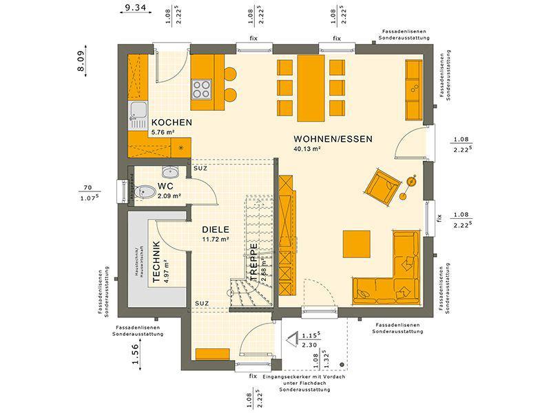 Grundriss Erdgeschoss 124 V7 (Living Haus)