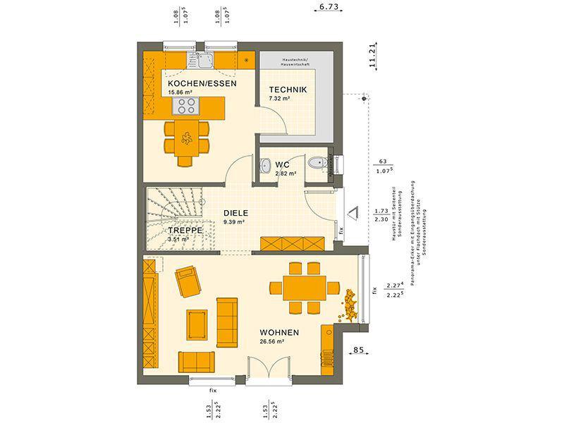 Grundriss Erdgeschoss 126 V3 (Living Haus)