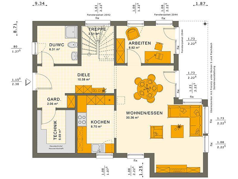 Grundriss Erdgeschoss 134 V10 (Living Haus)