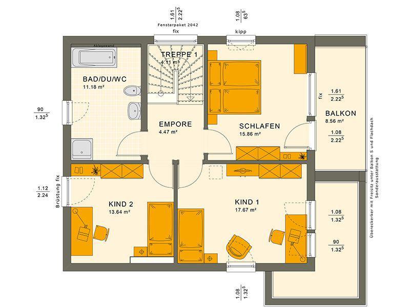 Grundriss Obergeschoss 134 V10 (Living Haus)