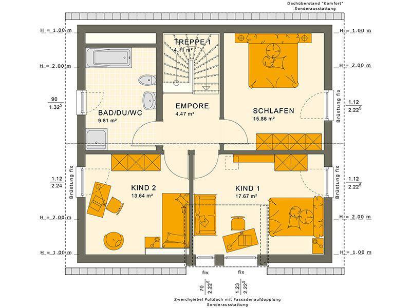 Grundriss Dachgeschoss 134 V4 (Living Haus)