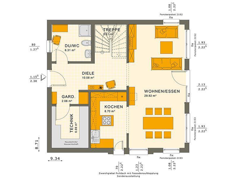 Grundriss Erdgeschoss 134 V4 (Living Haus)