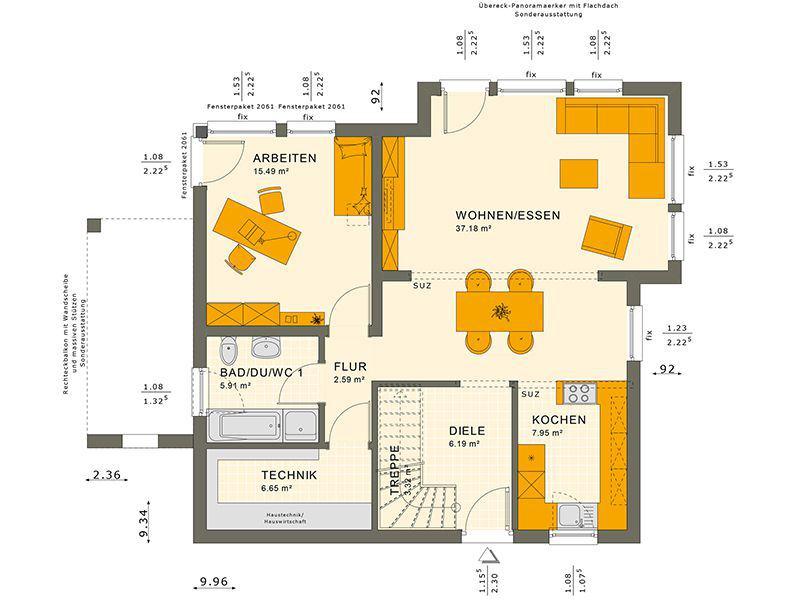 Grundriss Erdgeschoss 151 V9 (Living Haus)