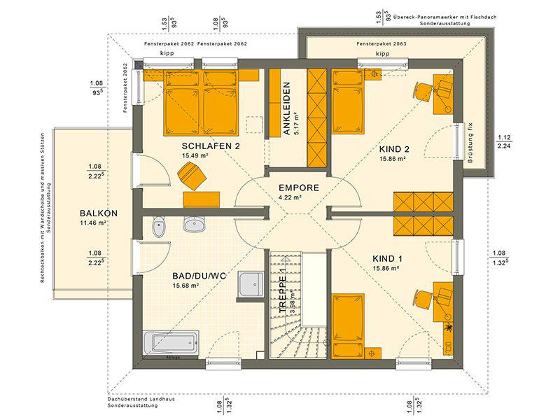 Grundriss Obergeschoss 151 V9 (Living Haus)