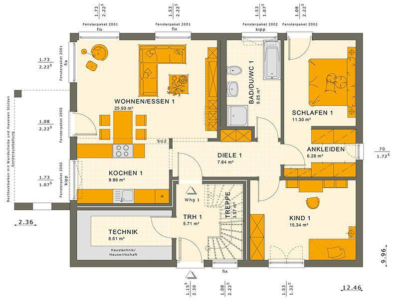 Grundriss Dachgeschoss 204 V2 (Living Haus)