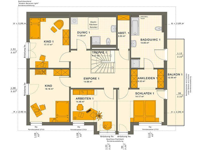 Grundriss Dachgeschoss 230 V4 (Living Haus)