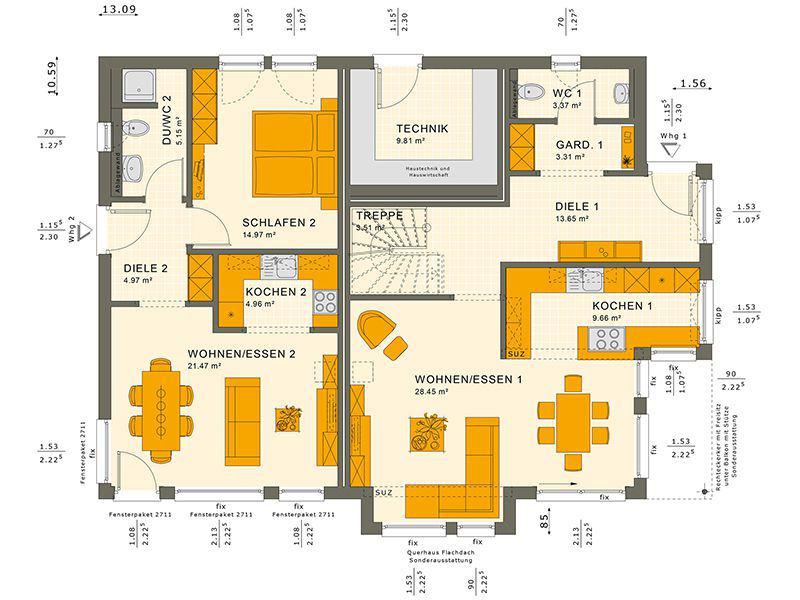 Grundriss Erdgeschoss 230 V4 (Living Haus)