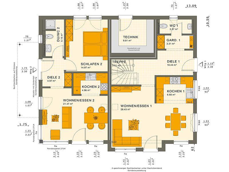 Grundriss Erdgeschoss 230 V6 (Living Haus)
