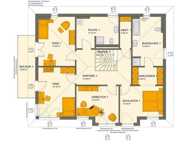 Grundriss Obergeschoss 230 V6 (Living Haus)