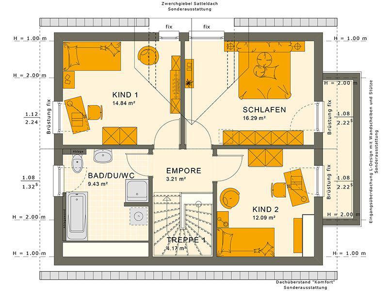 Grundriss Dachgeschoss SUNSHINE 125 V4 (Living Haus)