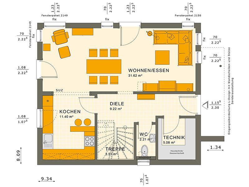 Grundriss Erdgeschoss SUNSHINE 125 V4 (Living Haus)