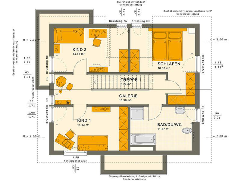 Grundriss Dachgeschoss SUNSHINE 144 V4 (Living Haus)