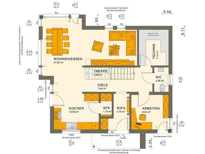Grundriss Erdgeschoss SUNSHINE 144 V4 (Living Haus)