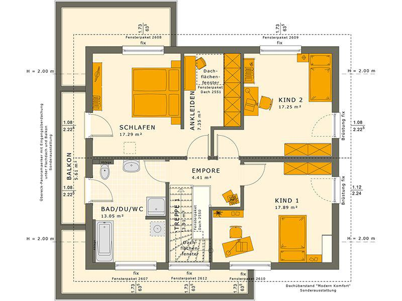 Grundriss Dachgeschoss SUNSHINE 165 V4 (Living Haus)