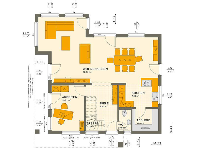 Grundriss Erdgeschoss SUNSHINE 165 V4 (Living Haus)