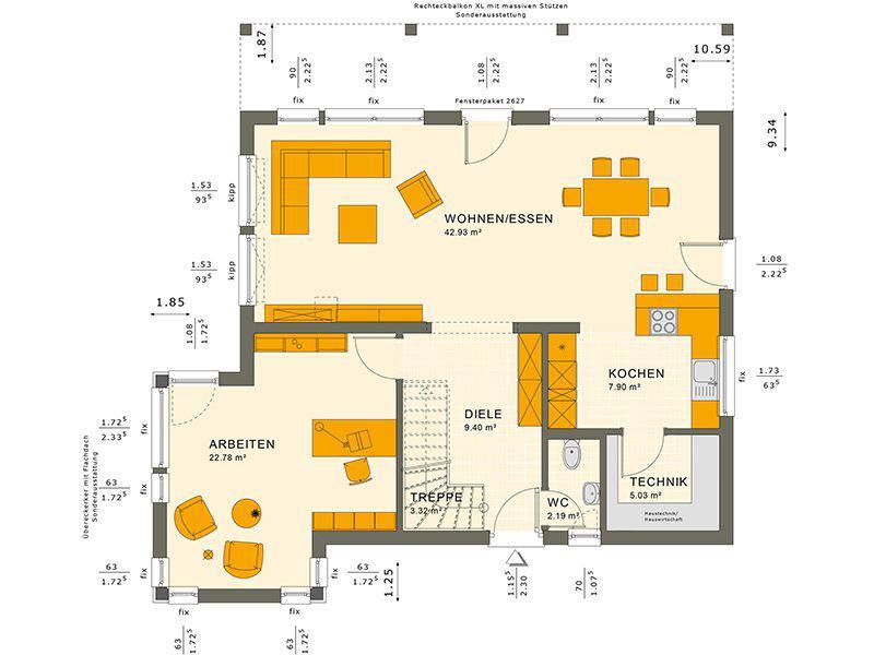 Grundriss Erdgeschoss SUNSHINE 165 V7 (Living Haus)