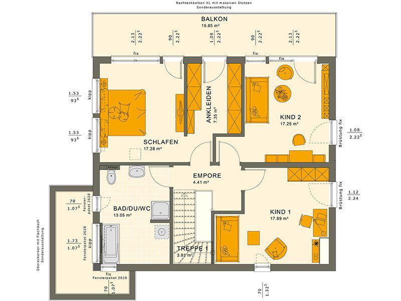 Grundriss Obergeschoss SUNSHINE 165 V7 (Living Haus)
