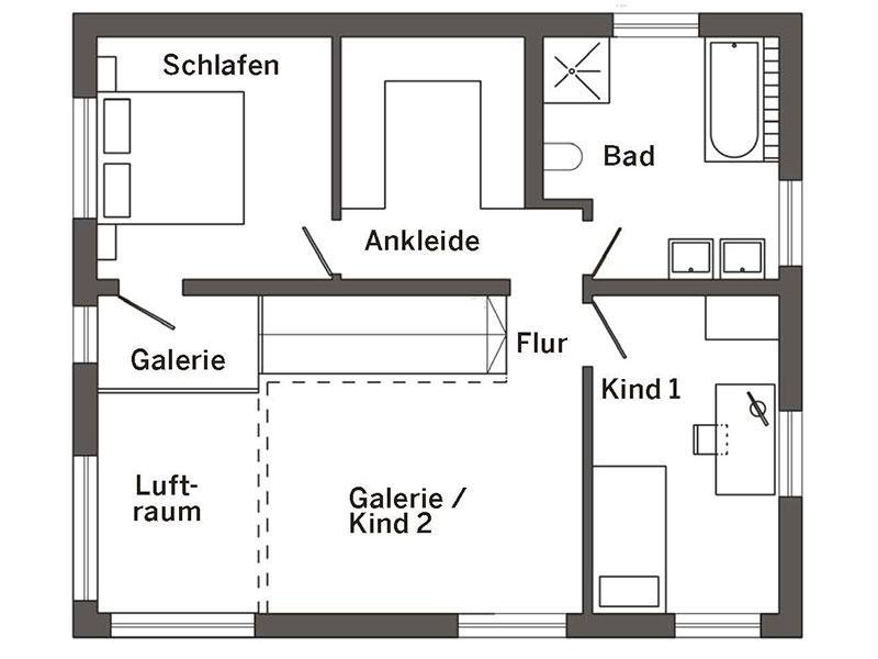 Grundriss Obergeschoss Kundenhaus (SchwörerHaus)