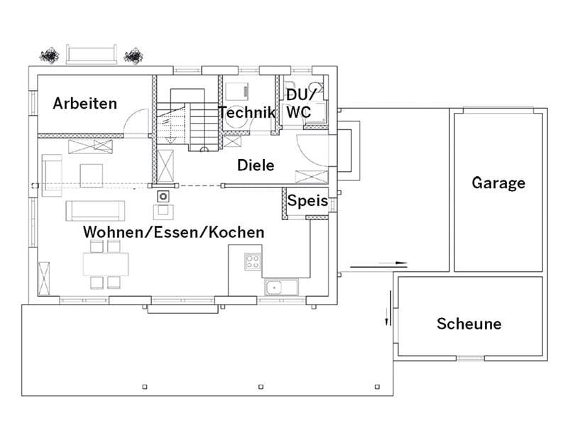 Grundriss Erdgeschoss Blockhaus (Chiemgauer Holzhaus)