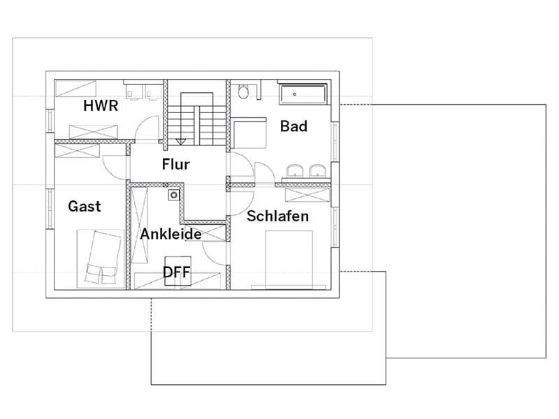 Grundriss Obergeschoss Blockhaus (Chiemgauer Holzhaus)