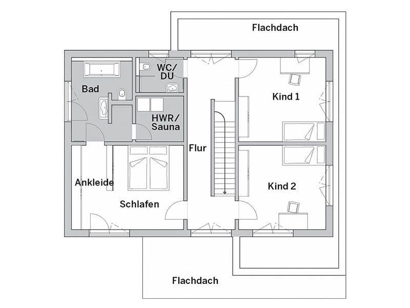 Grundriss Obergeschoss Cube X (FischerHaus)