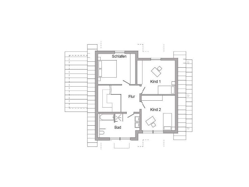 Grundriss Obergeschoss Entwurf E 15-154.1 (SchwörerHaus)