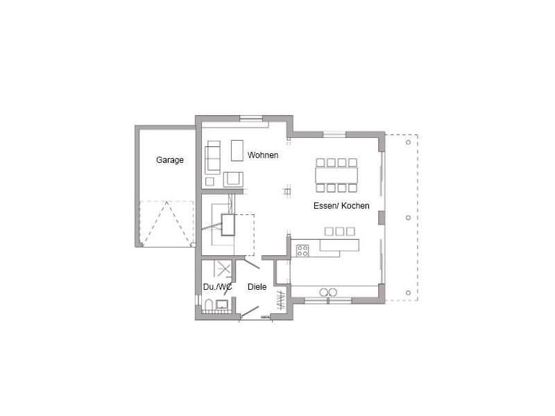 Grundriss Erdgeschoss Entwurf E 15-154.1 (SchwörerHaus)
