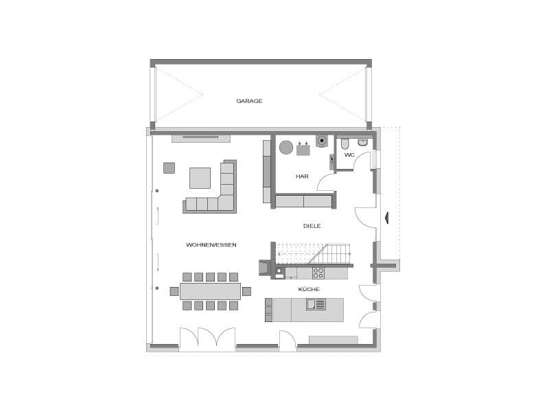 Erdgeschoss Grundriss Villa Steinhude von Heinz von Heiden