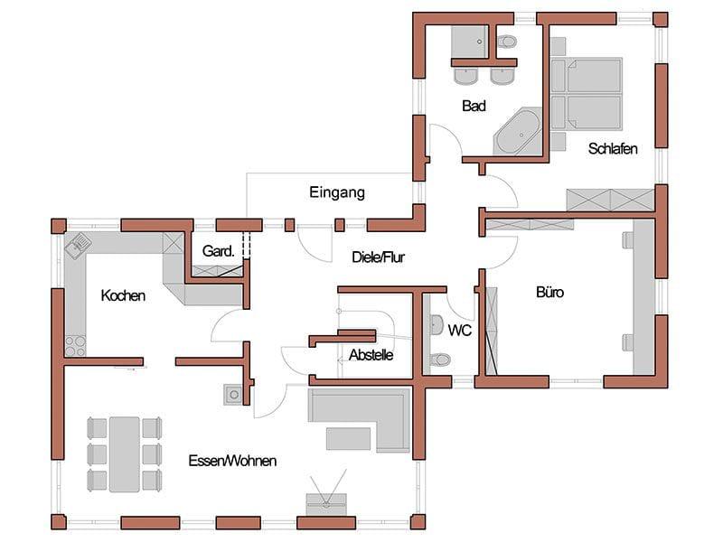 Grundriss Erdgeschoss Entwurf Echinger (Wolf System)