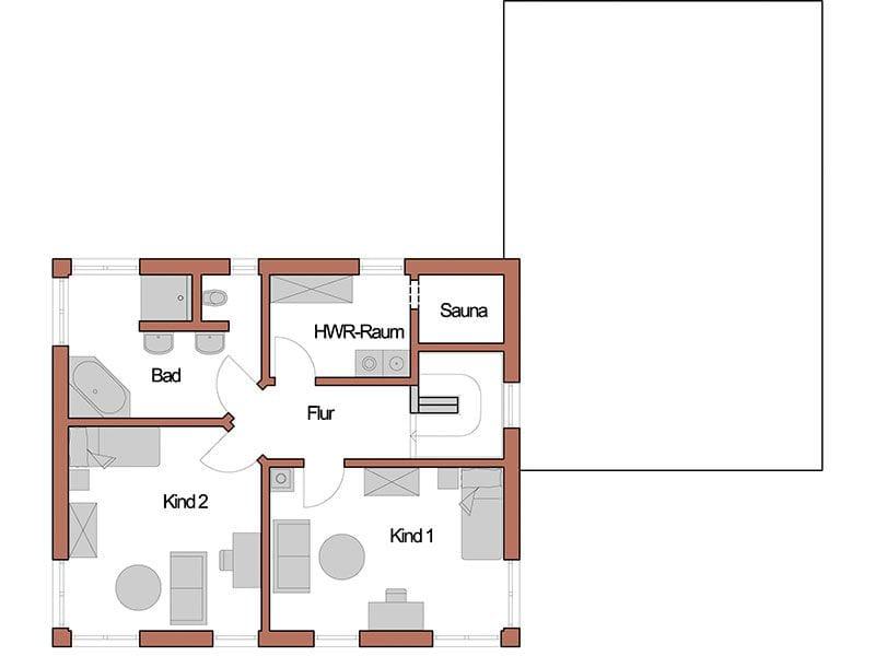 Grundriss Obergeschoss Entwurf Echinger (Wolf System)