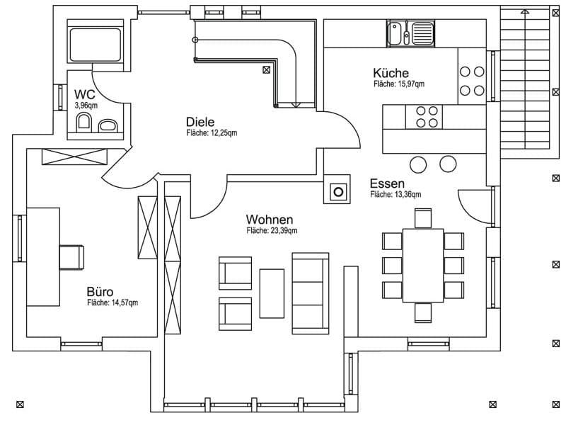 Bauvorhaben Daub: Grundriss Erdgeschoss