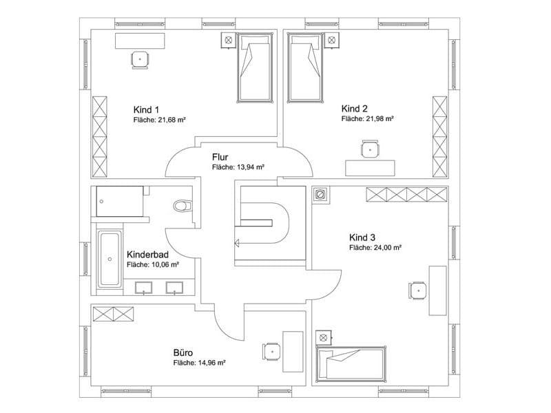 Bauvorhaben Bretzler: Grundriss Obergeschoss