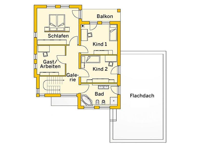 Grundriss Obergeschoss Innovationshaus 240 (Ytong)