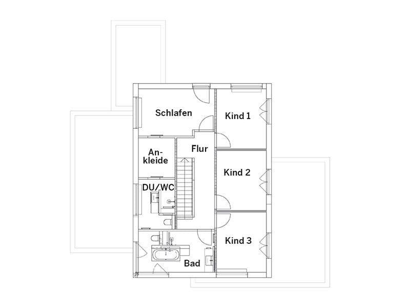 Grundriss Dachgeschoss Landhaus 207 von LUXHAUS