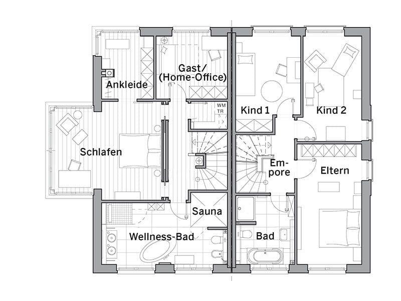 Grundriss Obergeschoss Maxime 1000D (Viebrockhaus)