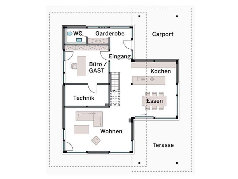 Grundriss Erdgeschoss Modum Sonderausführung (HUF Haus)