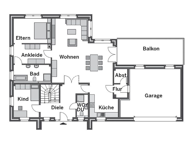 Grundriss Erdgeschoss Winkelbungalow Modicus M3000 (Heinz von Heiden)