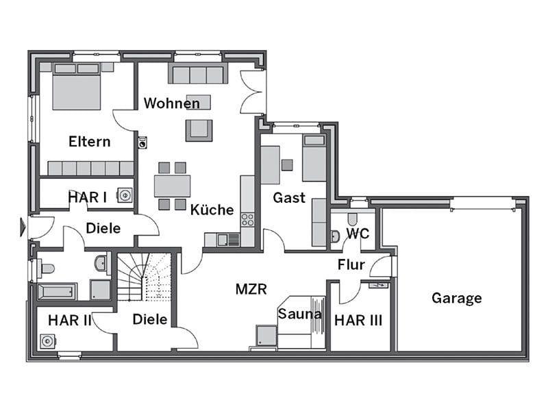 Grundriss Untergeschoss Winkelbungalow Modicus M3000 (Heinz von Heiden)